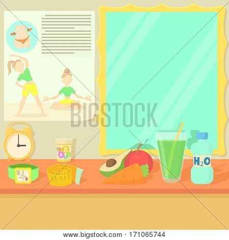 Health lifestyle items concept. Cartoon illustration of health lifestyle items vector concept for web