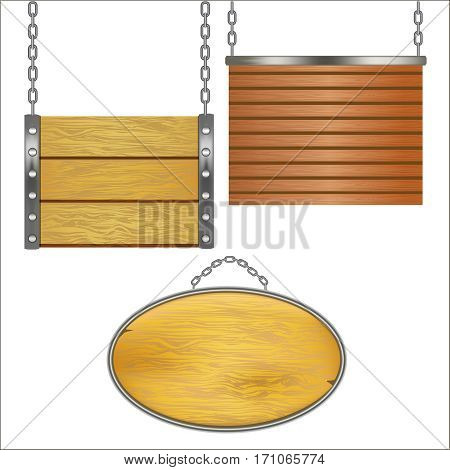 Wooden Signs Hanging on Metal Chain Set Design Element Place for Your Text. Vector illustration