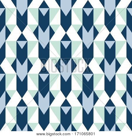 Vector geometric seamless pattern with lines and mosaic tiles in blue, grey, mint green, pastel color. Modern bold print with diamond shape for fall winter fashion. Abstract tech op art background
