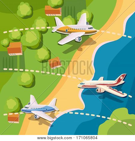 Aviation planes top view concept. Cartoon illustration of aviation planes top view vector concept for web