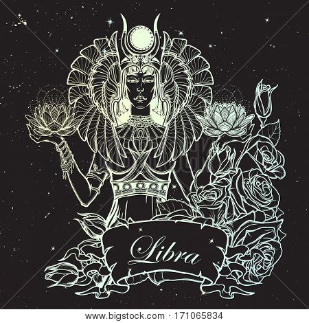 Zodiac sign Libra. Egyptian goddess Isis balancing in hands black and white lotus as a symbol of equilibrium. Vintage art nouveau style concept art for horoscope or birthday card. Night sky background
