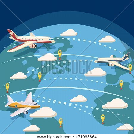 Aviation global logistic concept. Cartoon illustration of aviation global logistic vector concept for web