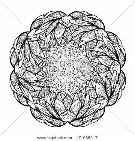 Lotus flower mandala. Intricate stylized linear drawing isolated on white background. Concept art for Hindu yoga and spiritual designs. Tattoo design. EPS10 vector illustration.
