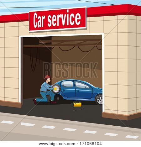 Car service garage concept. Cartoon illustration of car service garage vector concept for web