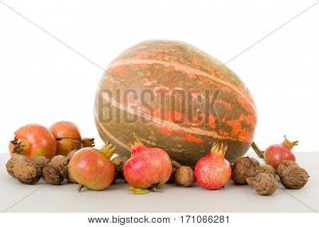 Autumn nature fruits concept. Fall fruits on a white background, studio picture