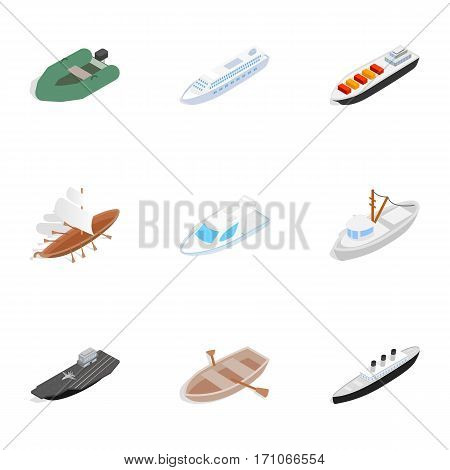 Sailing icons set. Isometric 3d illustration of 9 sailing vector icons for web