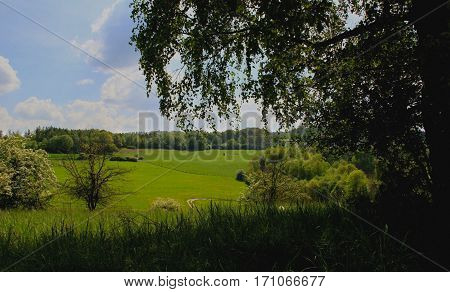 An idyllic landscape with light and shade