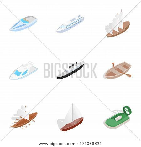 Sea ship, boat and yacht icons set. Isometric 3d illustration of 9 sea ships, boats and yacht vector icons for web