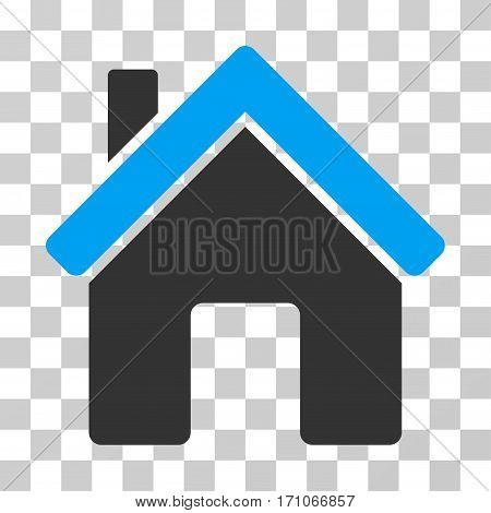 House icon. Vector illustration style is flat iconic bicolor symbol blue and gray colors transparent background. Designed for web and software interfaces.