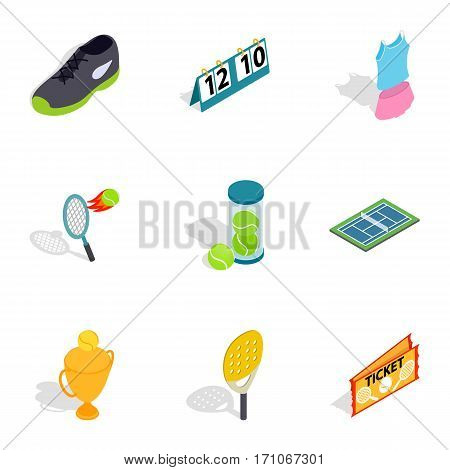 Big tennis icons set. Isometric 3d illustration of 9 big tennis vector icons for web