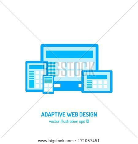 Adaptive web design flat vector illustration. Ui template