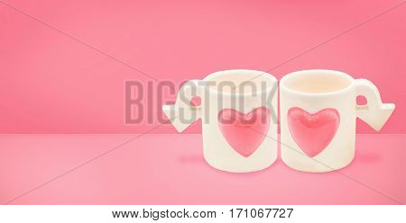 Couple cupid cup of Love on Valentine's Day concept.Minimal style