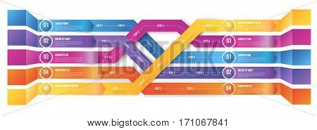 3D infographics style colored arrows, plexiform roadmap paths with steps pointed to different ways and goals. Vector illustration