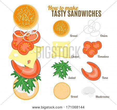 How To Make Burgers and Sandwiches with Fish Poster with the Instruction Manual Create Fast Food Flat Design Style. Vector illustration