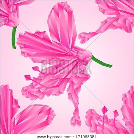 Seamless texture Rhododendron flower pink simple polygons Mountain shrub vector illustration