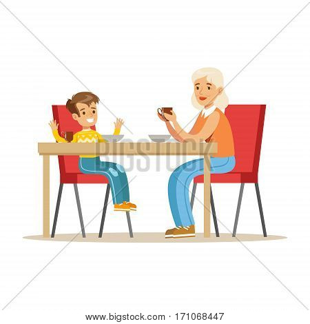 Grandmother Having Breakfast With Boy, Part Of Grandparents Having Fun With Grandchildren Series. Different Generations Of Family Enjoying Time Together Vector Cartoon Illustration.