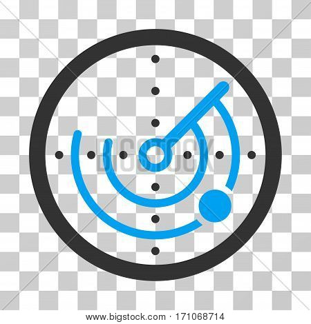 Radar icon. Vector illustration style is flat iconic bicolor symbol blue and gray colors transparent background. Designed for web and software interfaces.