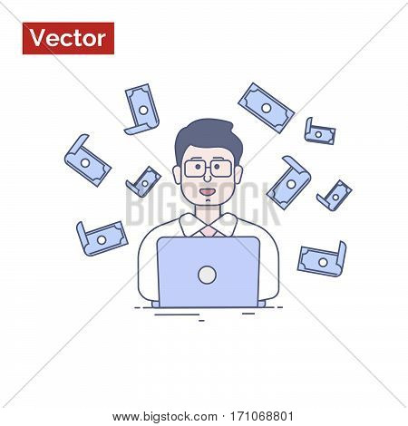 Businessman making money into internet, illustration for web site your company