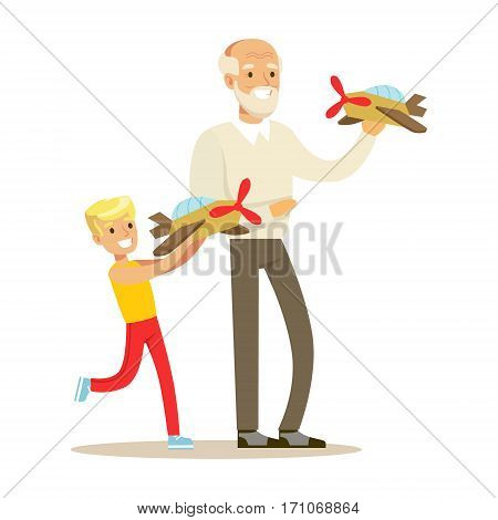 Grandfather And Boy Playing Toy Planes, Part Of Grandparents Having Fun With Grandchildren Series. Different Generations Of Family Enjoying Time Together Vector Cartoon Illustration.