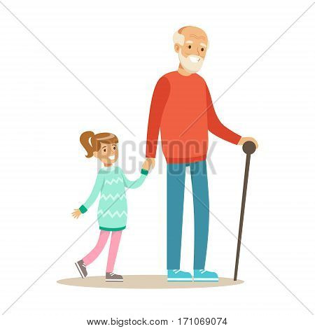 Grandfather And Girl Walking Holding Hands, Part Of Grandparents Having Fun With Grandchildren Series. Different Generations Of Family Enjoying Time Together Vector Cartoon Illustration.