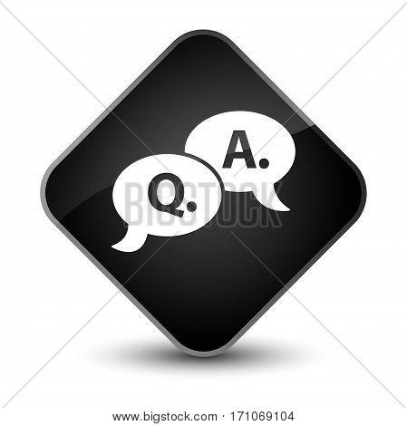Question Answer Bubble Icon Special Black Diamond Button