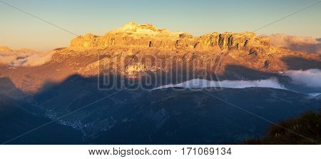 Evening view of Sella gruppe Alps Dolomites Mountains Italy
