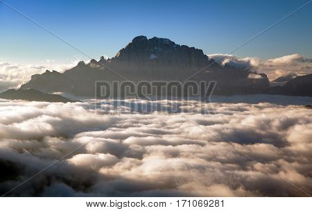 Morning view of mount Civetta from Col di Lana South Tirol Dolomites mountains Italy