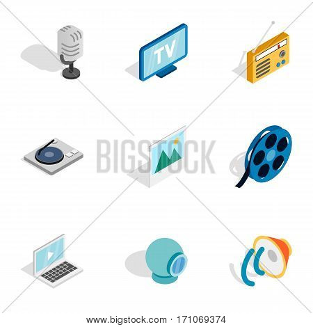 Multimedia icons set. Isometric 3d illustration of 9 multimedia vector icons for web