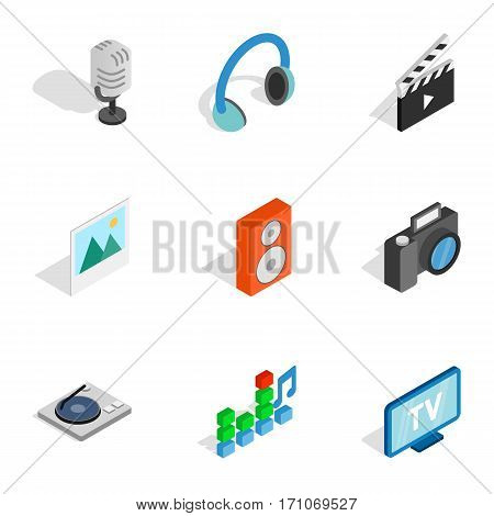 Computer technology icons set. Isometric 3d illustration of 9 computer technology vector icons for web