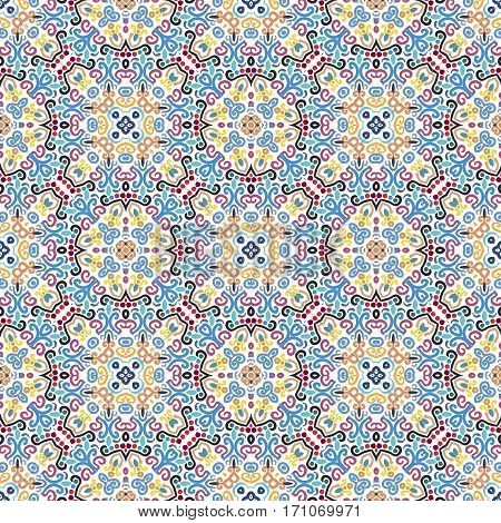 Blue yellow seamless pattern. Floral background. Luxury flourish ornament vector. Colorful weave stylized intricate curvy decoration. Flower furniture fabric print, wallpaper. Interior design element.