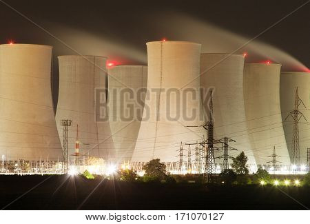 Night view of Jaslovske Bohunice nuclear power plant cooling towers Slovakia