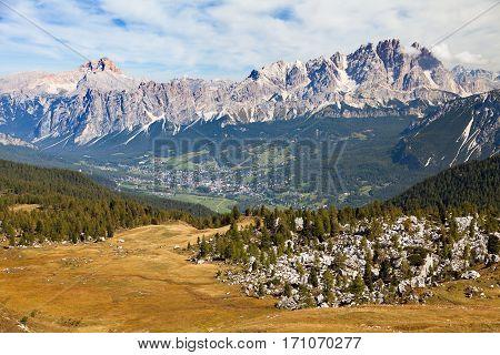 View of Cortina d Ampezzo and Alps Dolomites mountains Hohe Gaisl or Croda Rossa Gruppo del Cristallo Dolomiti Italy