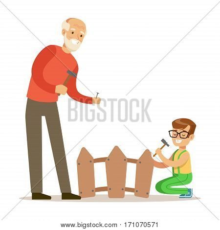 Boy And Grandfather Hammering Nails In The Fence, Part Of Grandparents Having Fun With Grandchildren Series. Different Generations Of Family Enjoying Time Together Vector Cartoon Illustration.