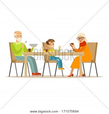 Grandfather, Grandmother And Boy Having Dinner, Part Of Grandparents Having Fun With Grandchildren Series. Different Generations Of Family Enjoying Time Together Vector Cartoon Illustration.