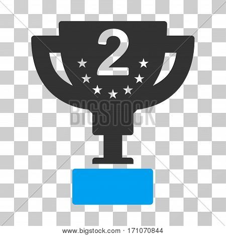 Second Prize Cup icon. Vector illustration style is flat iconic bicolor symbol blue and gray colors transparent background. Designed for web and software interfaces.