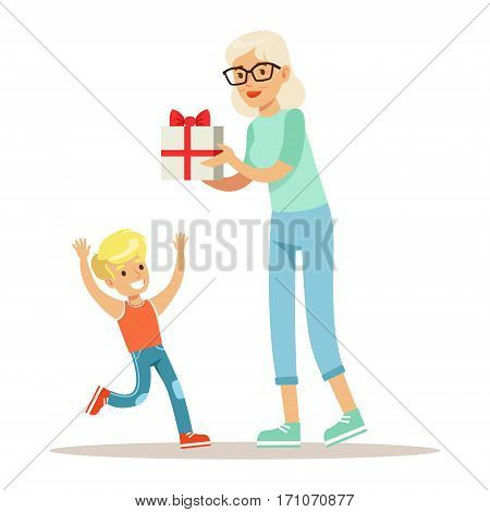 Grandmother Giving Present To Boy, Part Of Grandparents Having Fun With Grandchildren Series. Different Generations Of Family Enjoying Time Together Vector Cartoon Illustration.