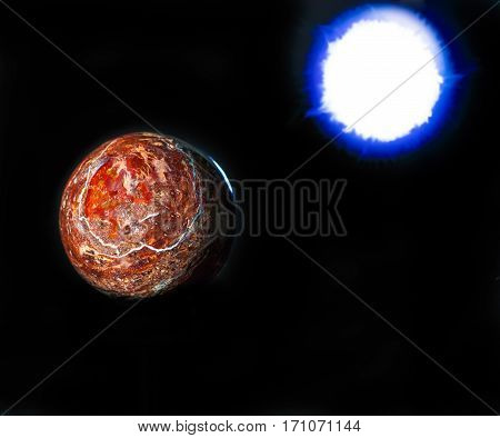 rock planet and blue sun on black background. In outer space theme.