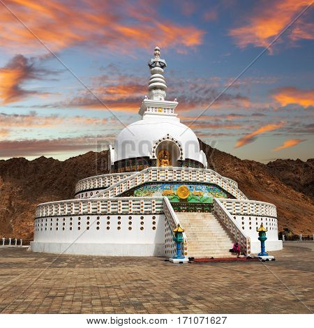 Evening sunset view of Tall Shanti Stupa near Leh - Jammu and Kashmir - Ladakh - India