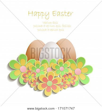 Easter Egg flowers colors vector template bloom