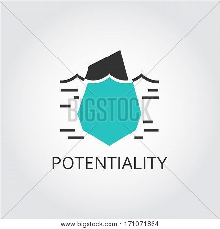 Vector icon of iceberg, hidden potential and opportunity concept. Logo in flat style. Black and green shape pictograph ffor button, websites, mobile apps and other design needs. Contour silhouette