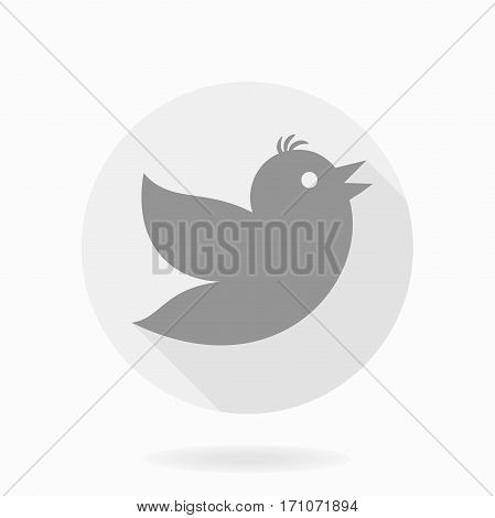 Fine icon with flying bird in the circle. Flat design with long shadow