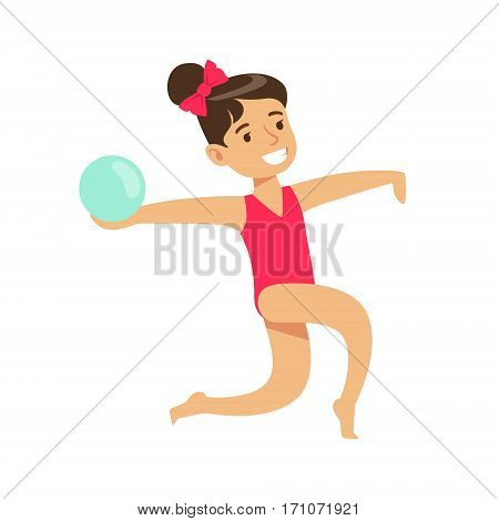 Little Girl Doing Rhythmic Gymnastics Exercise With Ball In Class, Future Sports Professional. Small Happy Kid And Adorable Stage Performance Vector Illustration.