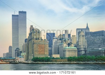 New York City skyline from New Jersey with World Trade Center featured as landmark of the Twin Towers. Lower Manhattan in NYC, United States.