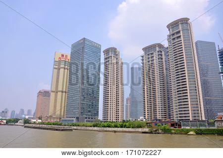 SHANGHAI - AUG. 13, 2012: Shanghai Pudong financial district skyline, Shanghai, China.