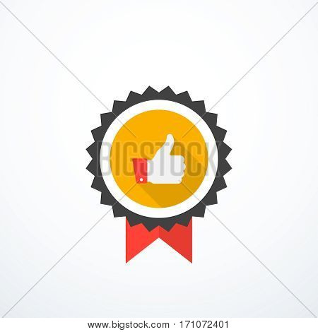 Vector award icon. Thumb up icon. Flat style