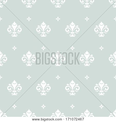 Seamless ornament. Modern geometric pattern with royal lilies. Light blue and white pattern