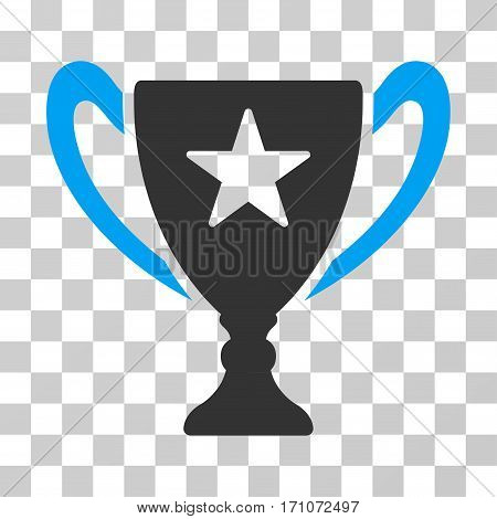Trophy Cup icon. Vector illustration style is flat iconic bicolor symbol blue and gray colors transparent background. Designed for web and software interfaces.