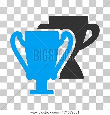 Trophy Cups icon. Vector illustration style is flat iconic bicolor symbol blue and gray colors transparent background. Designed for web and software interfaces.