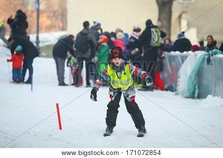 Boy Skiing In City Center