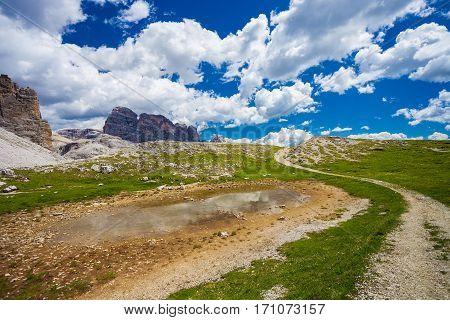 Tre Cime (Three Peaks) di Lavaredo - Famous Mountains in Dolomites North Italy